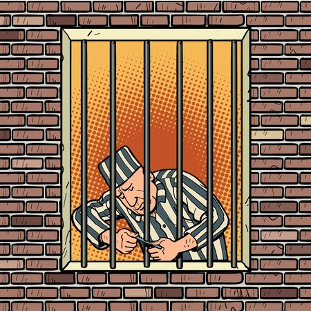 A prisoner escapes from prison. Jailbreak Stock Illustratie