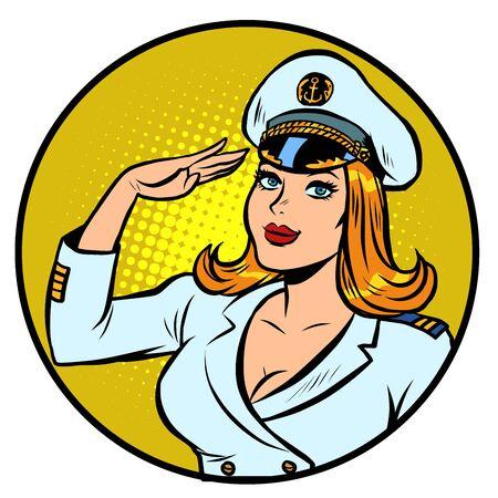 woman captain of a sea ship Illustration