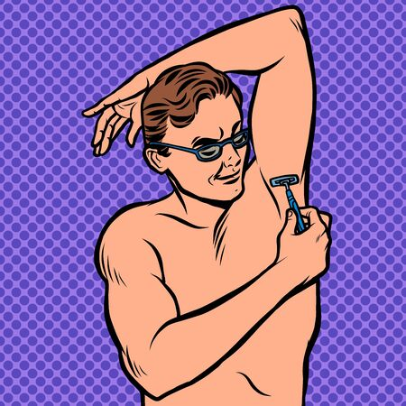 a man shaves his armpit with a razor Ilustracja