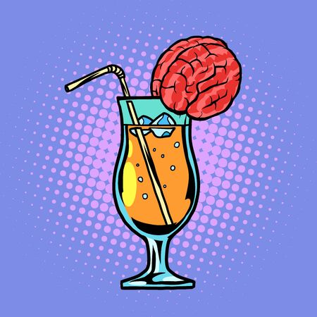 cocktail with brain drink with straw and ice