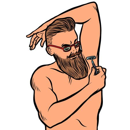 bearded hipster man shaves his armpit with a razor. isolate on white background