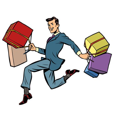 man with gifts shopping Illustration