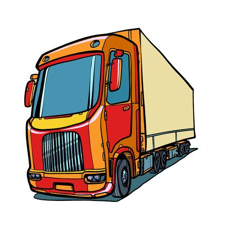 truck. freight traffic. Comic cartoon pop art retro vector illustration drawing Illustration