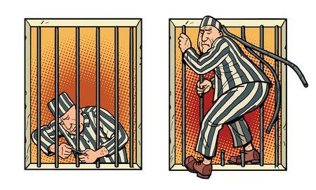 A prisoner escapes from prison. Jailbreak Ilustração