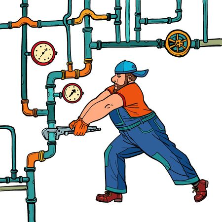 plumber repairs pipes Ilustrace