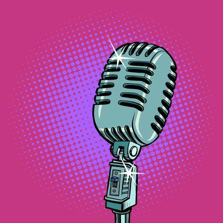 vintage retro microphone. Music standup concert radio podcast blog Ilustracja