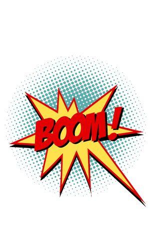 Boom comic text symbol sign Ilustracja