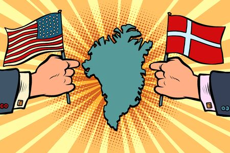 USA v. Denmark, dispute over Greenland. Hands of politicians with national flags