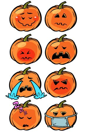 sadness sleep illness tears loneliness Emoji Halloween pumpkin set collection Ilustração