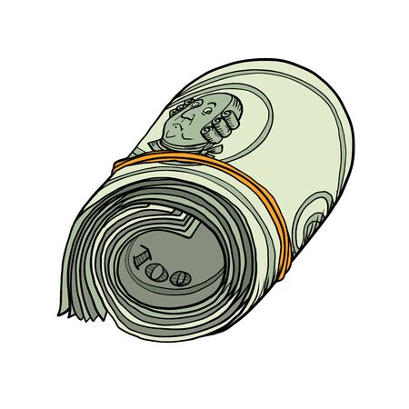 One hundred dollars bundle of banknotes gum  イラスト・ベクター素材