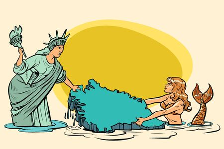 Caricature. USA and Denmark are pulling Greenland. American statue of liberty vs. Danish mermaid