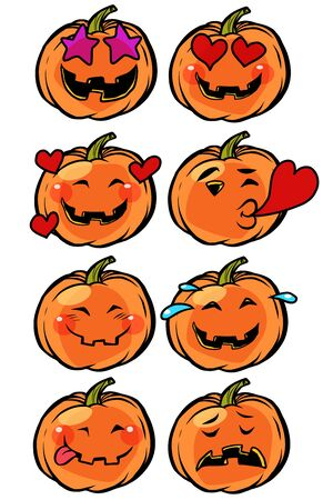 love heart passion confusion Emoji Halloween pumpkin set collection Ilustração