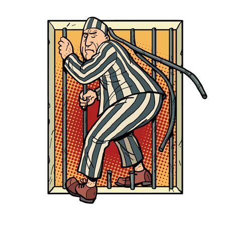 Een gevangene ontsnapt uit de gevangenis. jailbreak Vector Illustratie