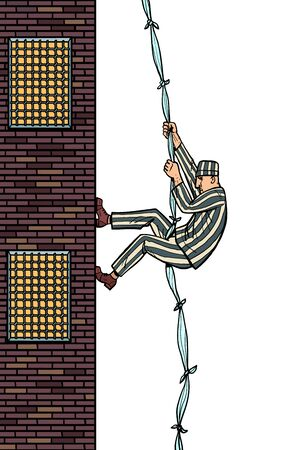 A prisoner escapes from prison. Jailbreak. The descent from the heights of related sheets
