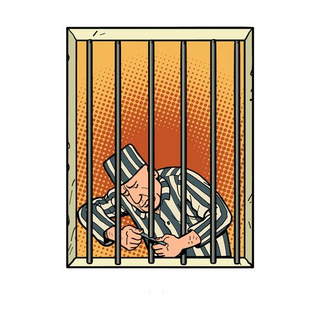 A prisoner escapes from prison. Jailbreak Ilustrace
