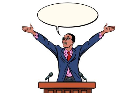 african Businessman or politician speaker speaking at the podium Illustration