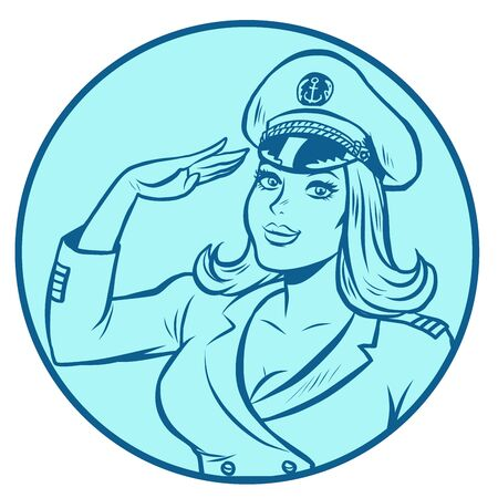 woman captain of a sea ship  イラスト・ベクター素材