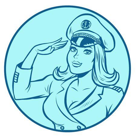 woman captain of a sea ship Banque d'images - 130417622