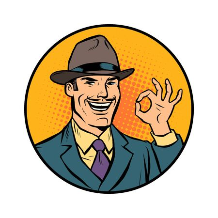 retro businessman OK gesture