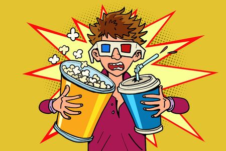 scared boy in stereo glasses at the cinema with popcorn and cola. Comic cartoon pop art retro vector illustration drawing