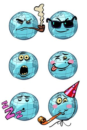 character planet earth. set a collection of emotions Emoji. The theme of the dream humor birthday surprise spy smoking. Comic cartoon pop art retro vector drawing illustration  イラスト・ベクター素材