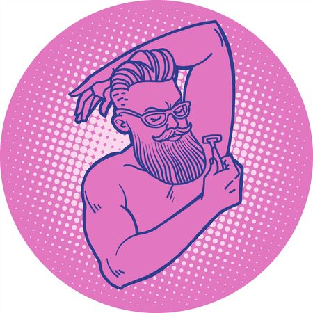 bearded hipster man shaves his armpit with a razor
