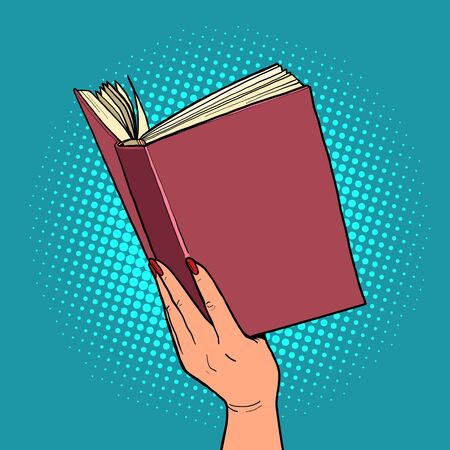 book in a female hand. reading and literature