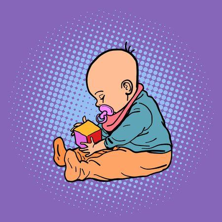 small child playing with a cube Illusztráció