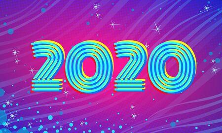 2020 Blue Magenta new year background