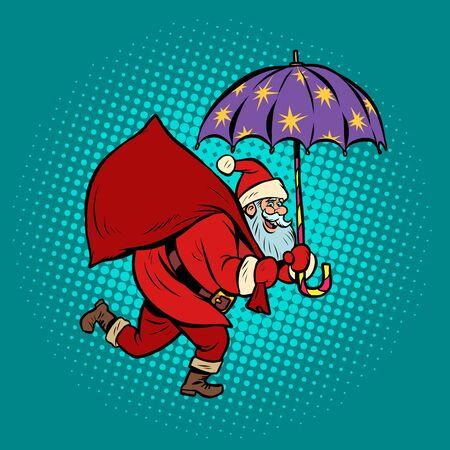 Santa Claus with star umbrella, magical night. Christmas and New year Ilustração
