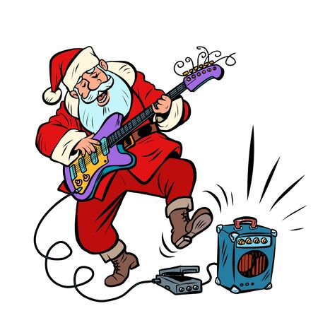 playing the electric guitar. Santa Claus character Christmas new year