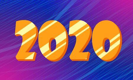 Golden 2020 new year blue background Illusztráció