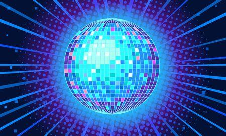 Blue disco ball background Illusztráció