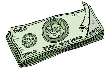 2020 2021 banknotes money cash. annual bonus. Santa Claus character Christmas new year