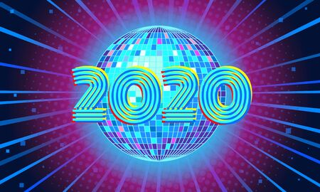2020 New year Blue disco ball background