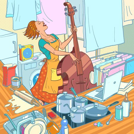 A female musician plays the double bass, a housewife is distracted from household chores