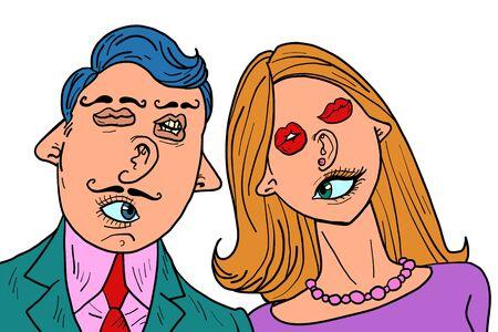 divertida pareja de enamorados. Caras mixtas ojos boca orejas nariz