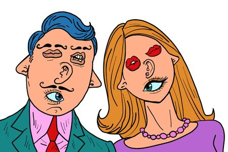 funny couple in love. Mixed faces eyes mouth ears nose Illustration