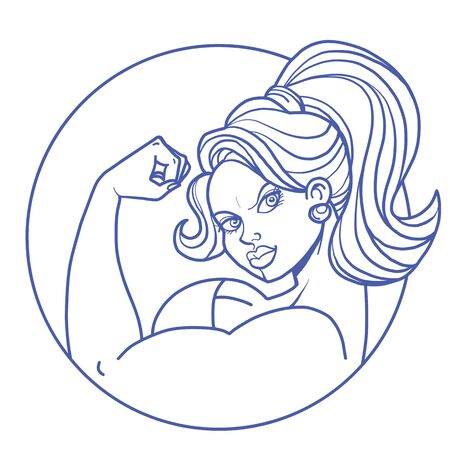 woman biceps bodybuilding. Comic cartoon pop art retro vector illustration drawing