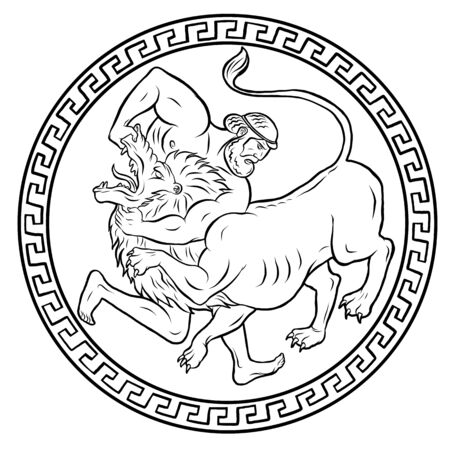 Leone di Nemea. 12 fatiche di Ercole Eracle. Miti dell'antica Grecia illustrazione