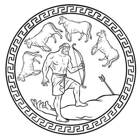 Ottieni il bestiame del mostro Gerione. 12 fatiche di Ercole Eracle. Miti dell'antica Grecia illustrazione