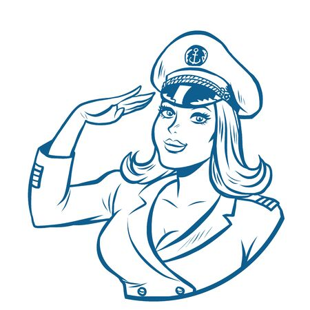 woman captain of a sea ship. Comic cartoon pop art retro vector drawing illustration