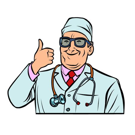 doctor therapist, thumb up gesture. Comic cartoon pop art retro vector drawing illustration