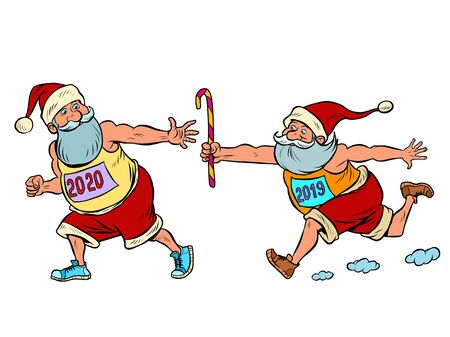 Sports relay. Santa Claus old 2019 and new 2020. Christmas and New year. Comic cartoon pop art retro vector illustration drawing