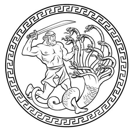 Lernaean Hydra. Hydra of Lerna. 12 Labours of Hercules Heracles. Myths Of Ancient Greece illustration Illusztráció
