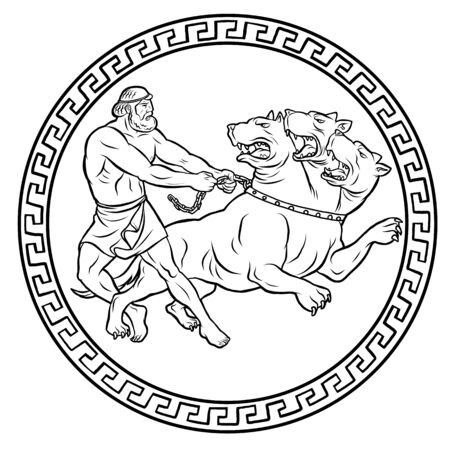 Capture and bring back Cerberus. 12 Labours of Hercules Heracles. Myths Of Ancient Greece illustration