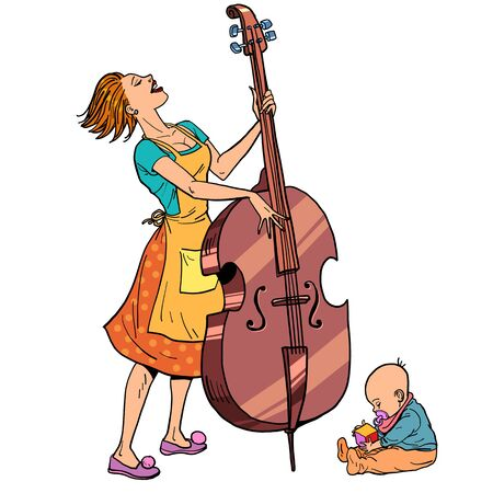 Home rehearsal. Mother with a small child plays the double bass. Comic cartoon pop art retro vector illustration drawing