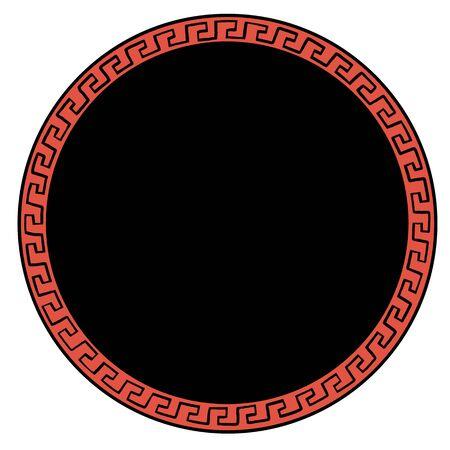 ancient Greek ornament round background. Ancient Greek style illustration