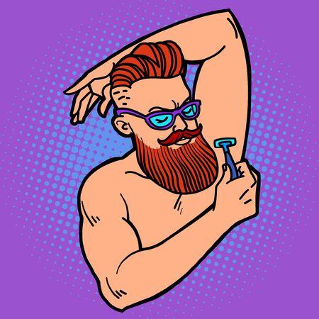 bärtiger Hipster-Mann rasiert seine Achselhöhle mit einem Rasiermesser. Comic-Cartoon-Pop-Art-Retro-Illustrationszeichnung