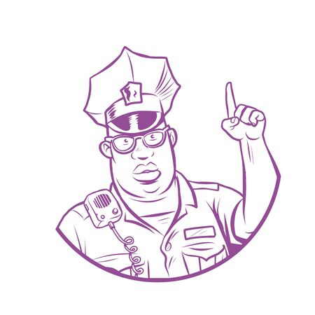 police index finger up. Comic cartoon pop art retro vector drawing illustration Illustration